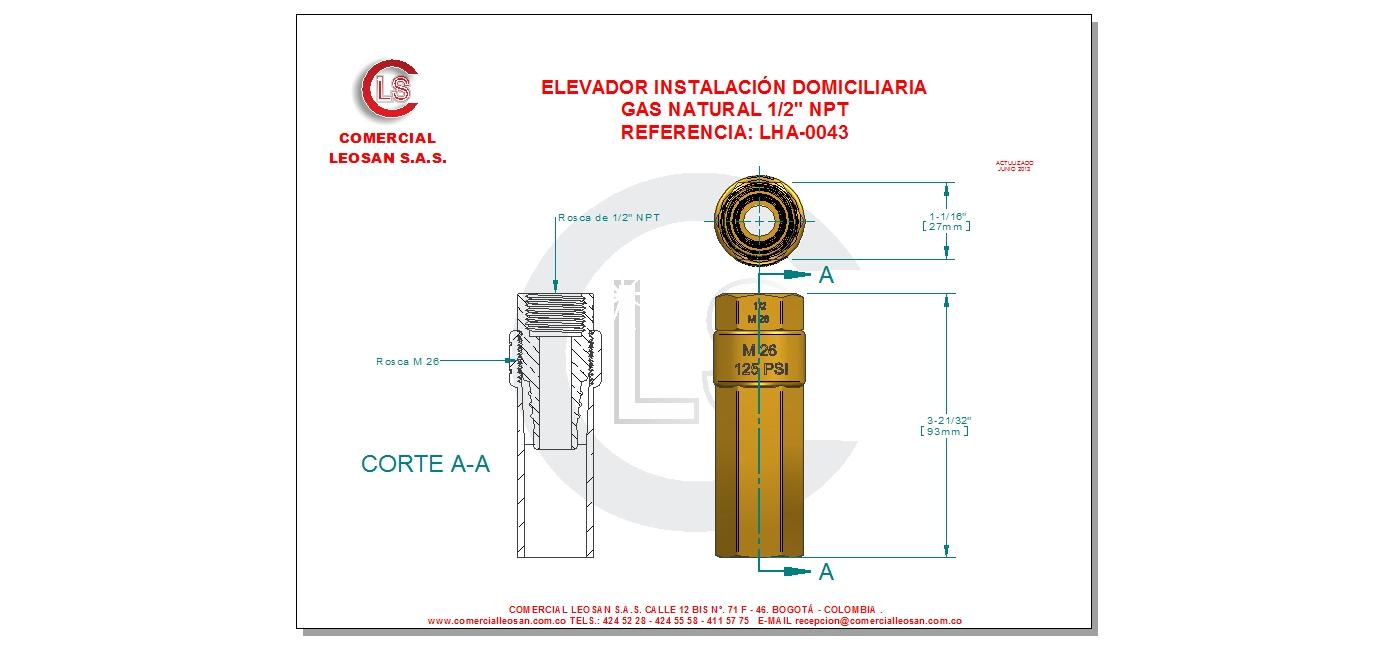 Elevador instalaci n domiciliaria gas natural 1 2 npt - Instalacion calentador gas natural ...