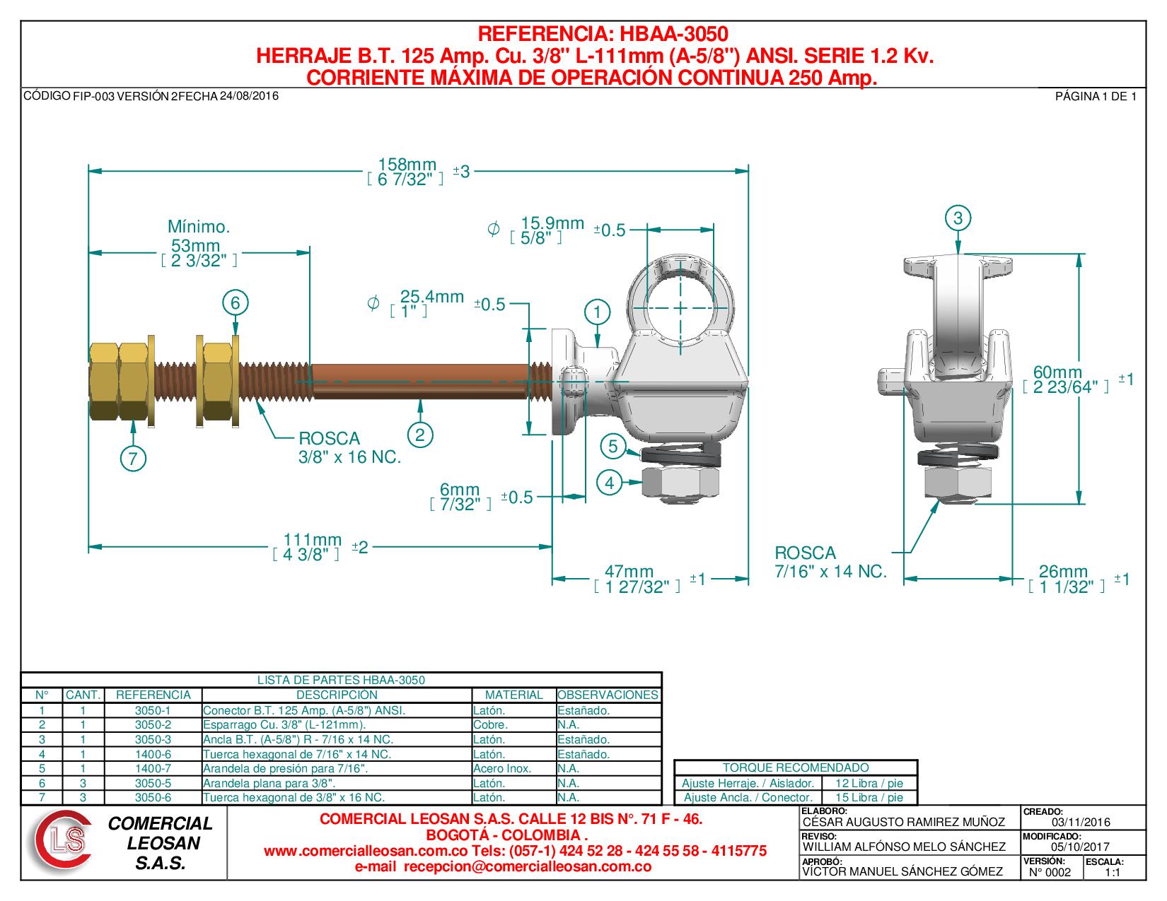 """HERRAJE B.T. 125 Amp. Cu. 3/8"""" L-111mm (A-5/8"""") ANSI. SERIE 1.2 Kv."""