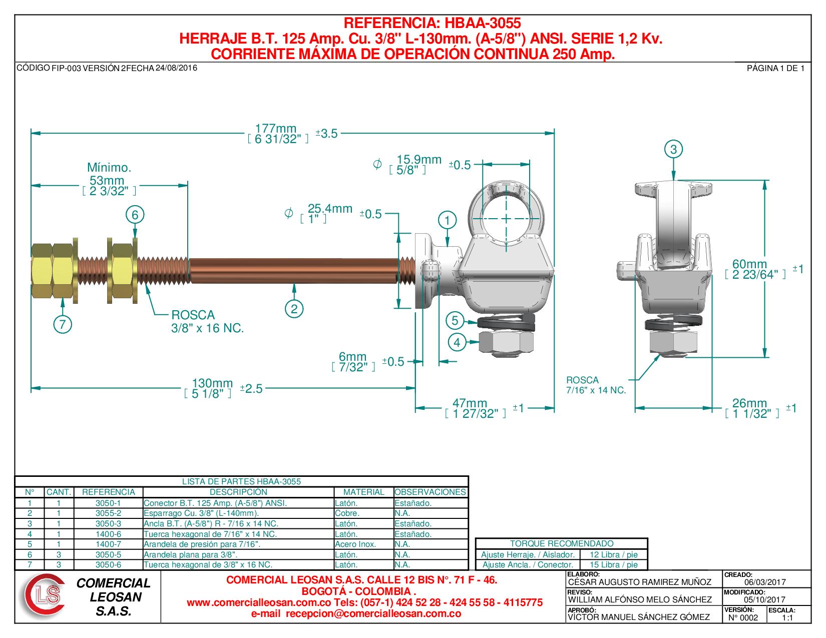 """HERRAJE B.T. 125 Amp. Cu. 3/8"""" L-130mm. (A-5/8"""") ANSI. SERIE 1,2 Kv."""