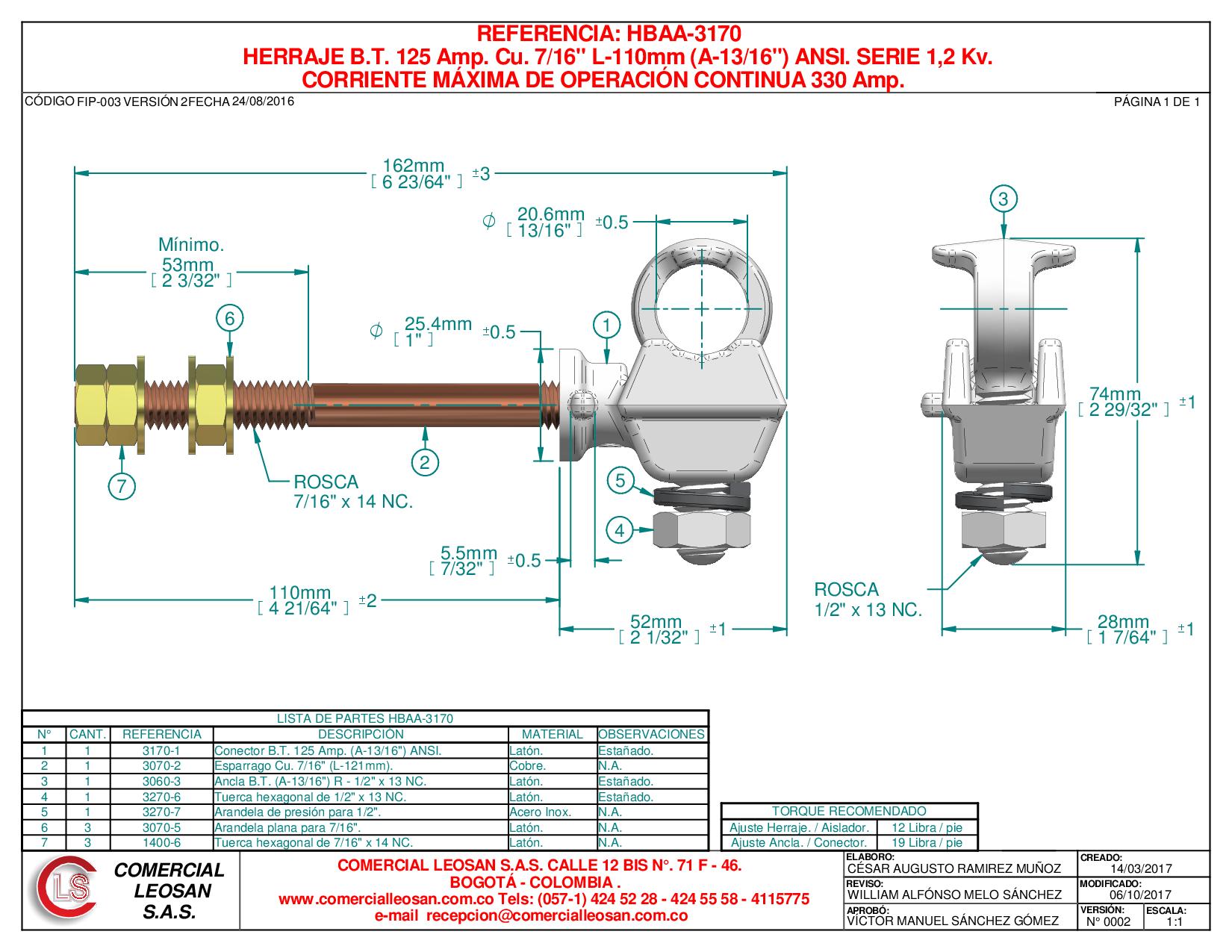"""HERRAJE B.T. 125 Amp. Cu. 7/16"""" L-110mm (A-13/16"""") ANSI. SERIE 1,2 Kv."""