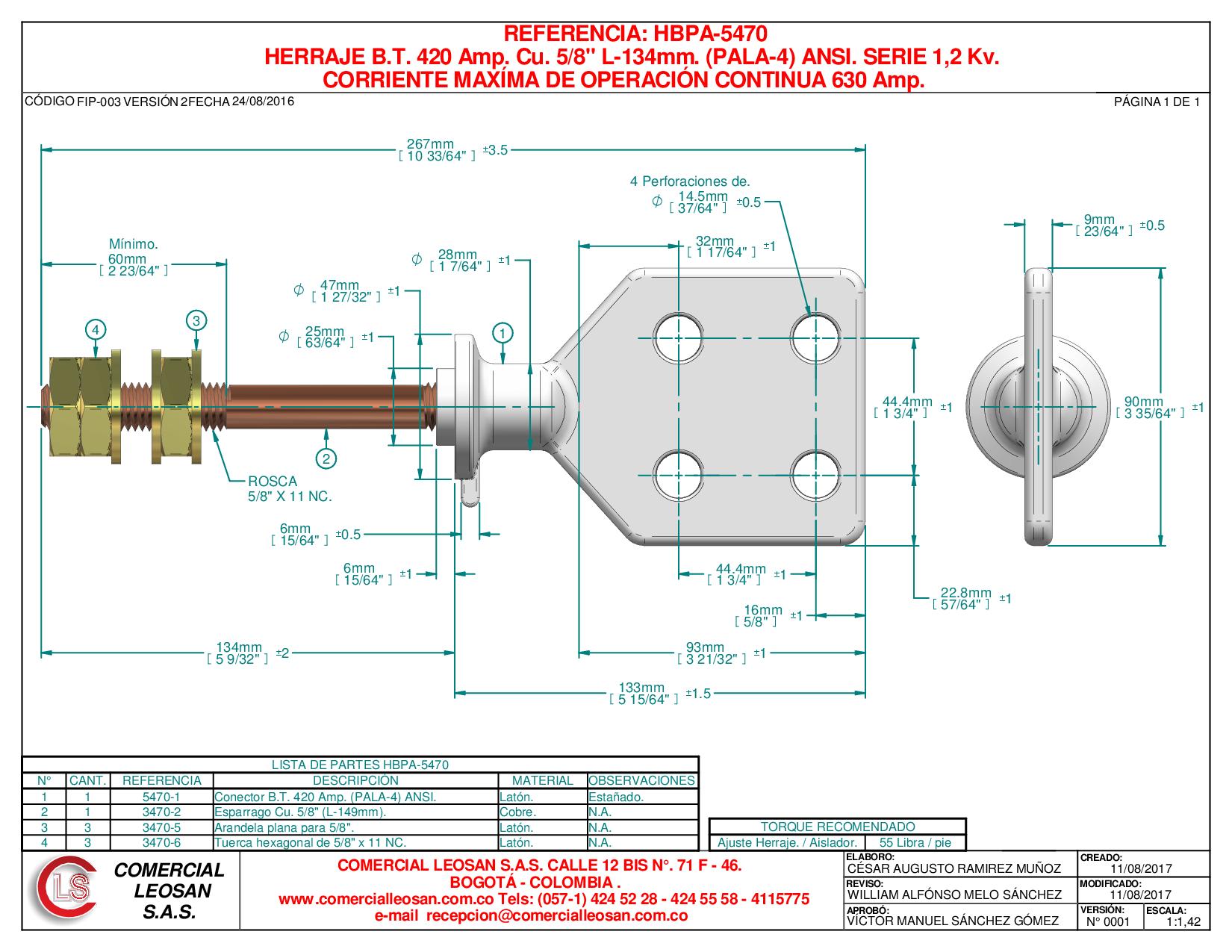 "HERRAJE B.T. 420 Amp. Cu. 5/8"" L-134mm. (PALA-4) ANSI. SERIE 1,2 Kv."