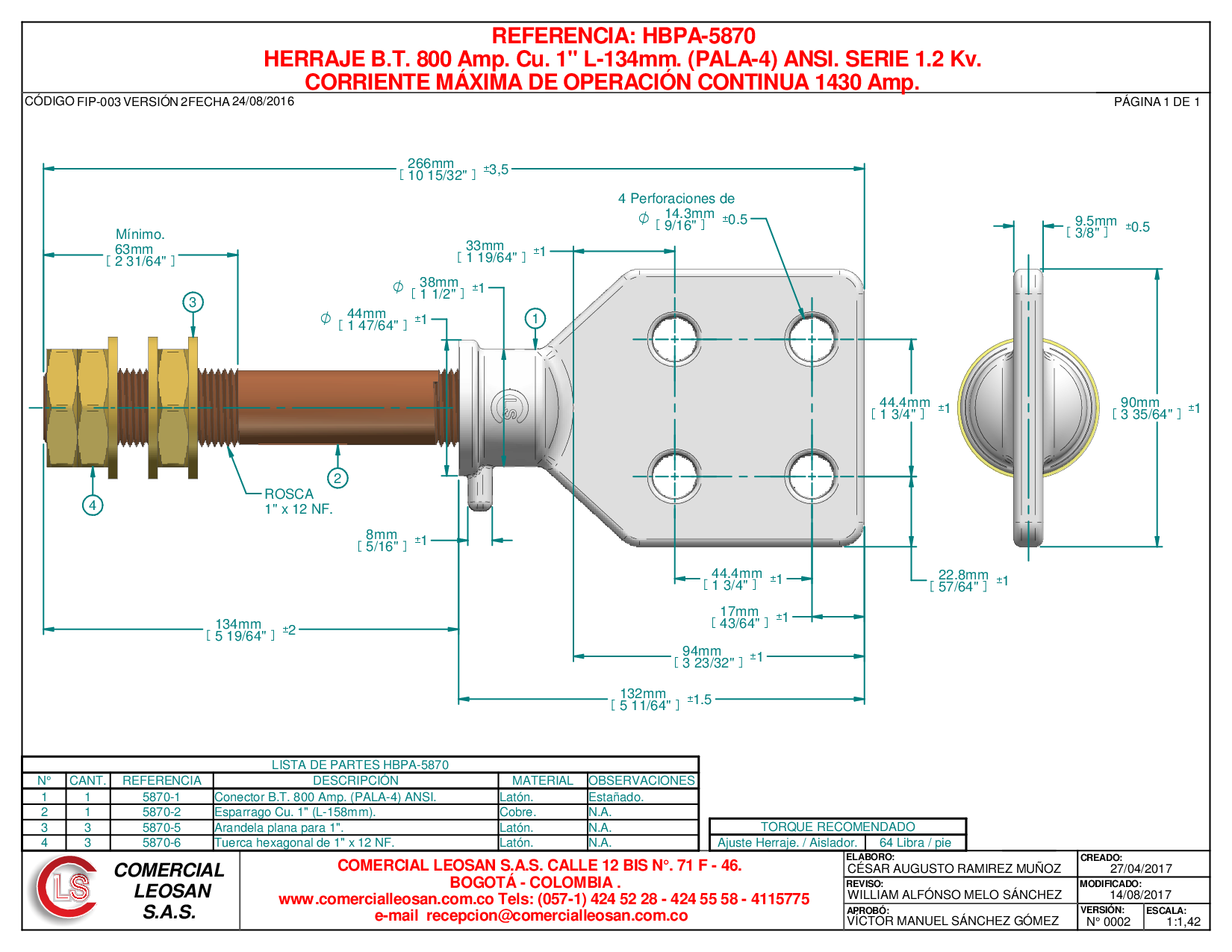 "HERRAJE B.T. 800 Amp. Cu. 1"" L-134mm. (PALA-4) ANSI. SERIE 1.2 Kv."