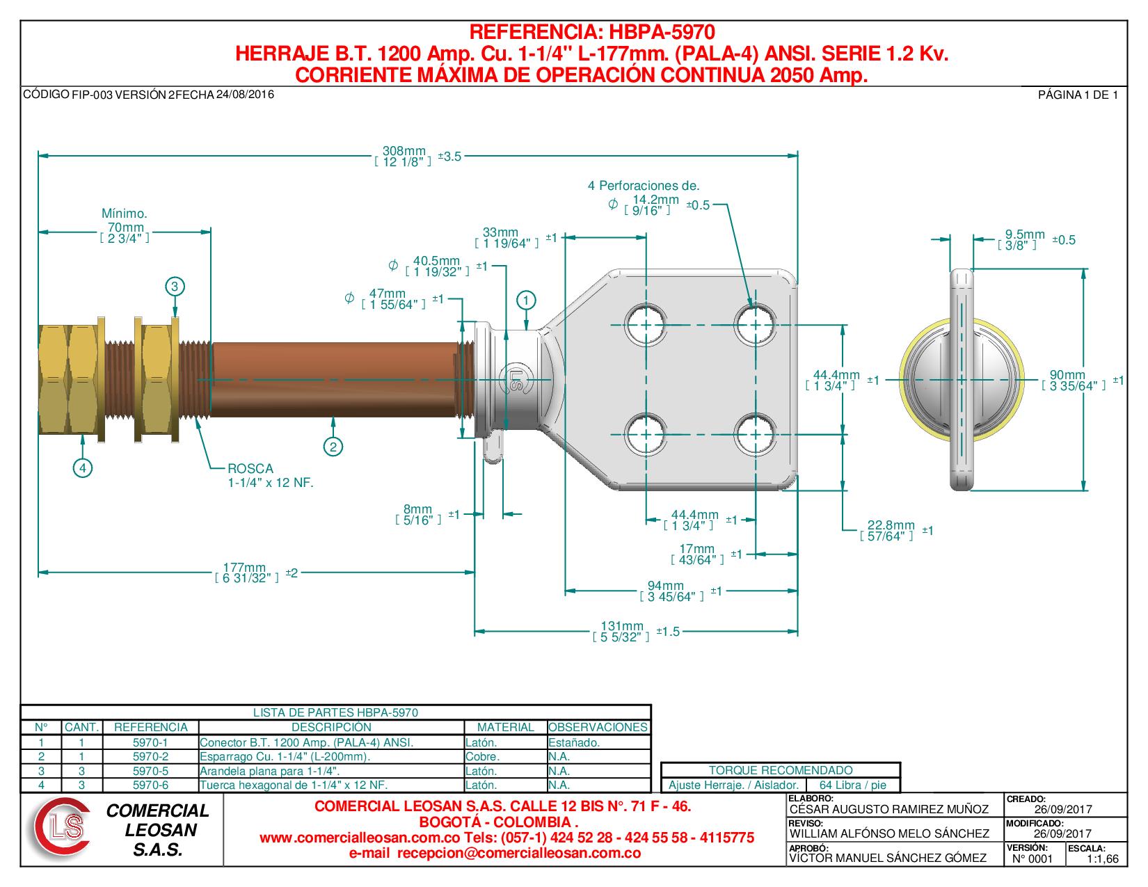 "HERRAJE B.T. 1200 Amp. Cu. 1-1/4"" L-177mm. (PALA-4) ANSI. SERIE 1,2 Kv."