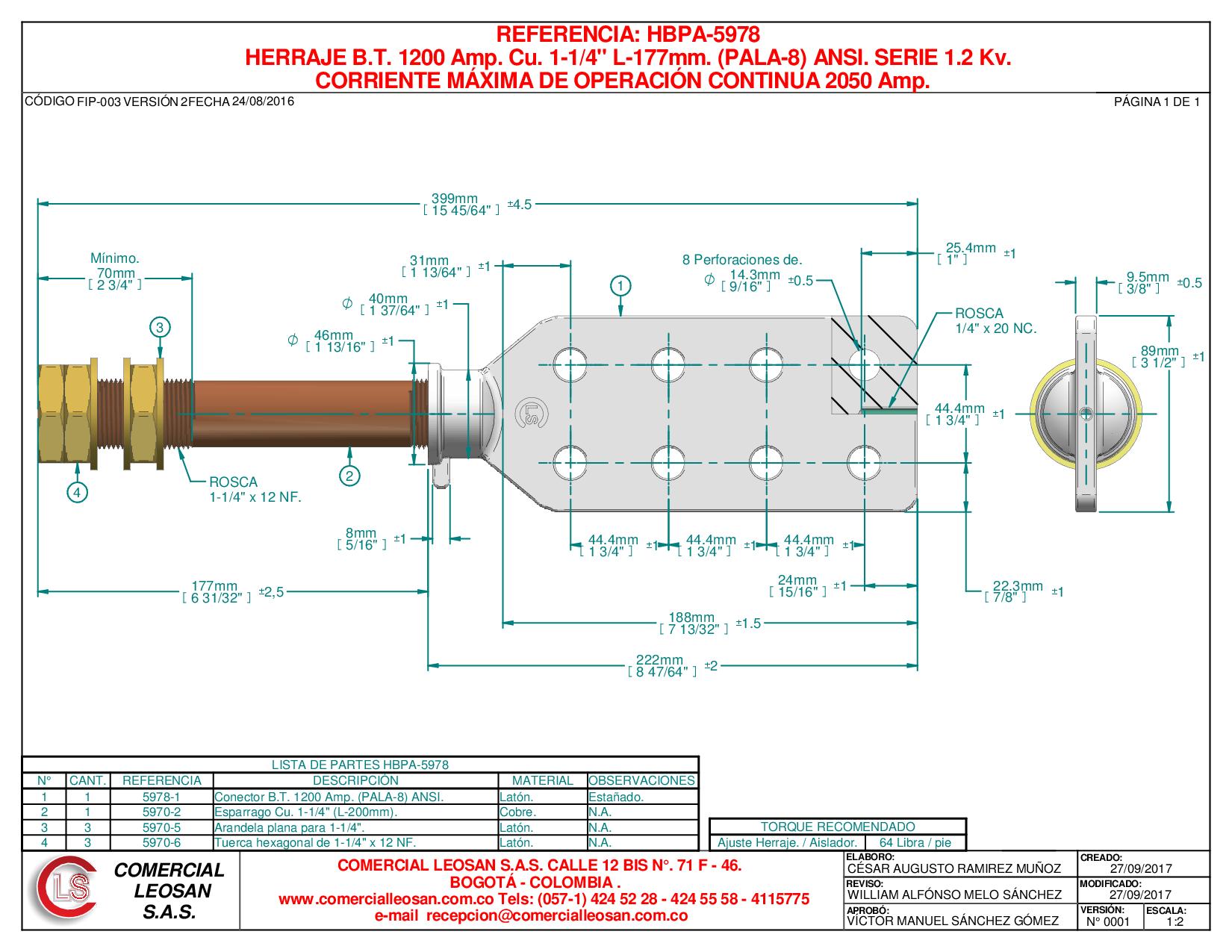 "HERRAJE B.T. 1200 Amp. Cu. 1-1/4"" L-177mm. (PALA-8) ANSI. SERIE 1,2 Kv."