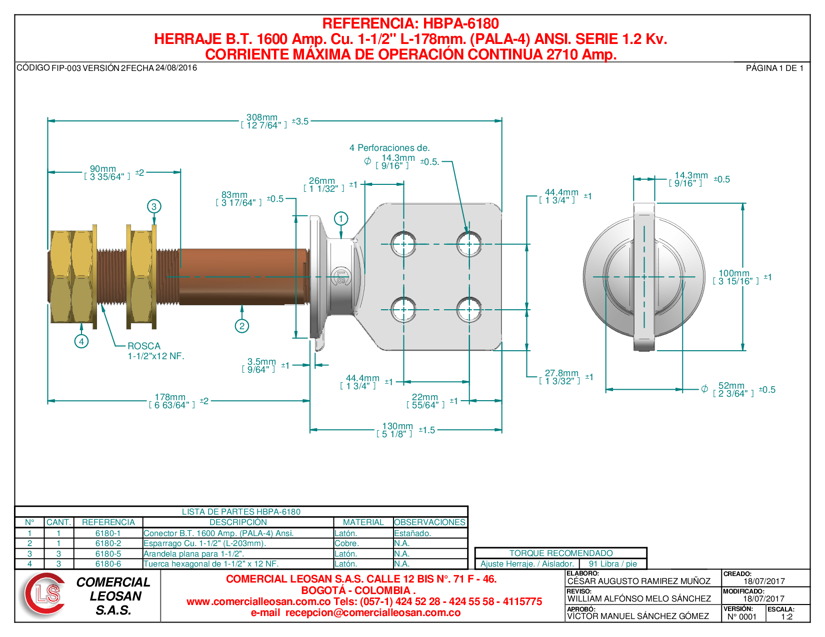 "HERRAJE B.T. 1600 Amp. Cu. 1-1/2"" L-178mm. (PALA-4) ANSI. SERIE 1.2 Kv."