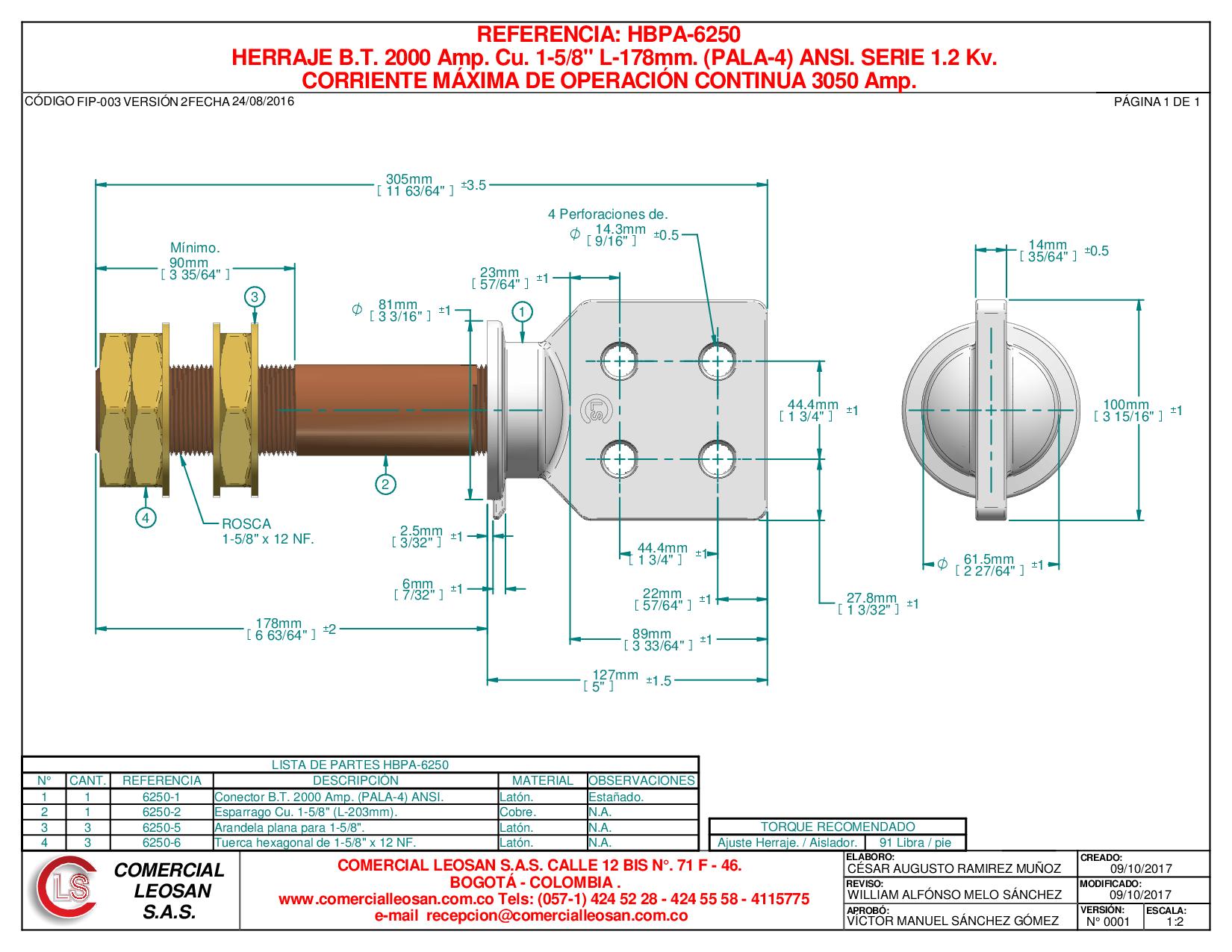 "HERRAJE B.T. 2000 Amp. Cu. 1-5/8"" L-178mm. (PALA-4) ANSI. SERIE 1.2 Kv."