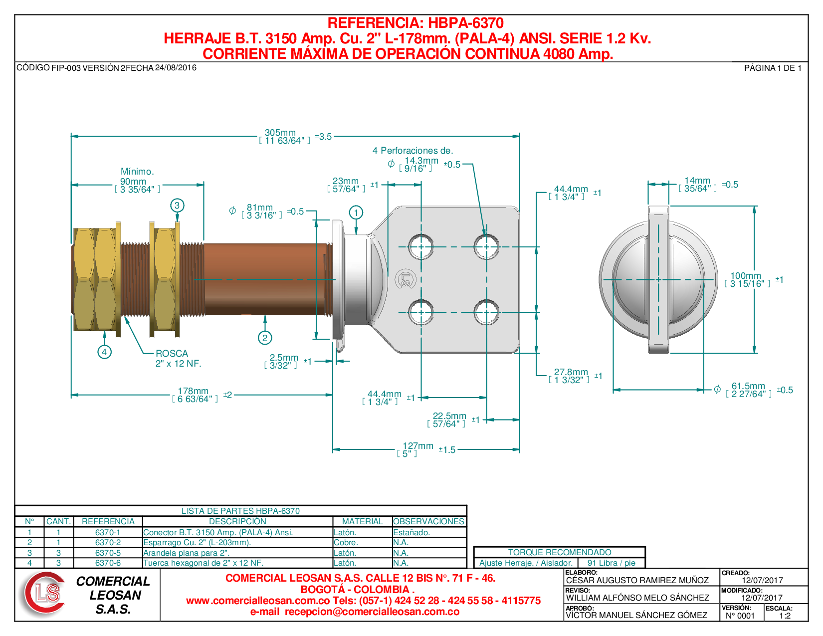 "HERRAJE B.T. 3150 Amp. Cu. 2"" L-178mm. (PALA-4) ANSI. SERIE 1.2 Kv."