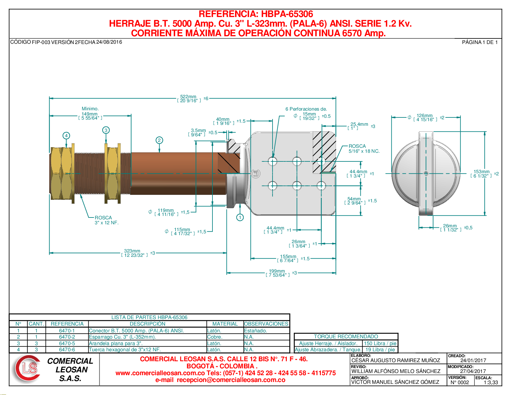 "HERRAJE B.T. 5000 Amp. Cu. 3"" L-323mm. (PALA-6) ANSI. SERIE 1.2 Kv."