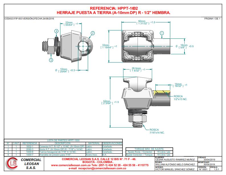 """HERRAJE PUESTA A TIERRA (A-10mm DP) R - 1/2"" HEMBRA."""
