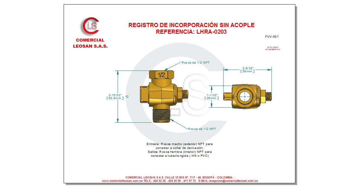 Registro de Incorporación HM 1/2 NPT Sin Acople