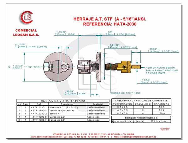 """Herrajes de alta tensión tipo de conexión ancla 5/16"""""""